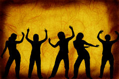 Dancers on a grunge background Stock Photos