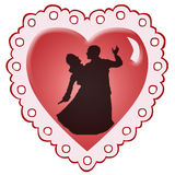 Dancers Heart. Dancers silhouetted agains a red heart vector illustration
