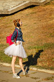 Dancers hipster on a walk in autumn park. Royalty Free Stock Photography