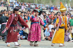 Dancers in historical costumes Royalty Free Stock Images