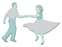 Dancers illustration. Illustration of man and woman dancing Stock Photos