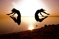 Free Dancers Jump Royalty Free Stock Photography - 15437087