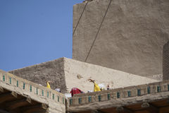 Dancers on the Khiva city walls Stock Photo