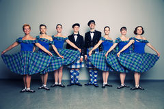 Dancers in kilts. Group of dancers of the Scottish dance in kilts stock image