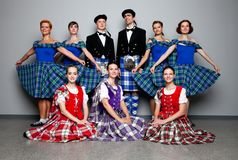 Dancers in kilts Stock Images