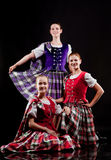 Dancers in kilts. Group of dancers of the Scottish dance in kilts stock photos