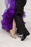 Dancers legs. Foot ballroom dancers on the dance floor stock photography