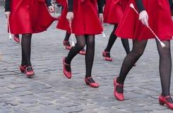 Dancers legs girls. Beautiful legs dancing girls in the street Stock Images