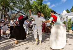 Dancers with local costumes demonstrating a folk dance during the Wine Festival in Funchal on the Madeira Stock Photography