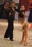 Dancers: Manole Razvan Gabriel/ Negoduico Olga. 1st place winners at the Romanian National Dance Contest (Cupa Romaniei), Open Latin section, 19-35 years old. 25 Royalty Free Stock Image