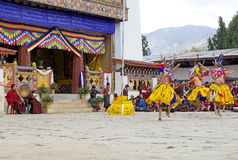 Dancers and musicians at the Gangtey Monastery, Gangteng, Bhutan Royalty Free Stock Photo