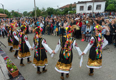 Dancers in national costumes at the Nestenkar Games in Bulgaria Stock Photography