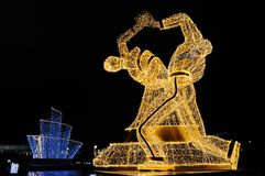 Dancers in the night. Giant figures of dancers erected for the Festival Trip to Christmas 2017-2018, Moscow, Russia Royalty Free Stock Photos
