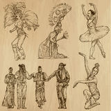 Dancers no. 3- hand drawn collection, vector Royalty Free Stock Image