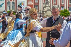 Dancers at the parade of the Swabian folk costumes. TIMISOARA,ROMANIA-JUNE 16, 2019:Dancers at the parade of the Swabian folk costumes on the occasion the days stock photography