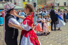 Dancers at the parade of the Swabian folk costumes. TIMISOARA,ROMANIA-JUNE 16, 2019:Dancers at the parade of the Swabian folk costumes on the occasion the days stock photo