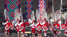 Dancers perform the Quetzales Dance wearing flashy and colorful traditional suits, as part of the cultural activities. Mexico City, Mex. 01/12/2018. Dancers stock footage