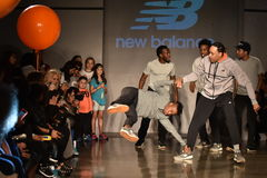 Dancers perform on runway at New Balance Fall/Winter 2016 Runway Dance Party during petiteParade Royalty Free Stock Images