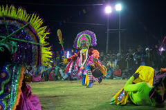 Dancers performing at Chhau Dance festival, West Bengal, India Royalty Free Stock Photography