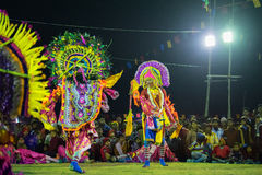 Dancers performing at Chhau Dance festival, West Bengal, India Royalty Free Stock Image