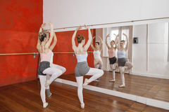 Dancers Performing While Looking At Mirror At Ballet Studio Stock Image