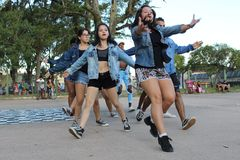 Dancers performing an outdoor street dance performance royalty free stock images