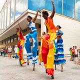 Dancers performing in a street in Old Havana Royalty Free Stock Image