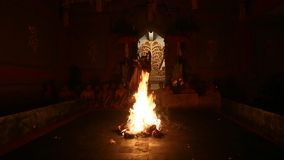 Dancers performing traditional balinese Kecak Fire Dance stock footage