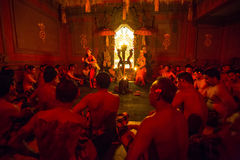 Dancers performing traditional balinese Kecak Trance Fire Dance Stock Photography