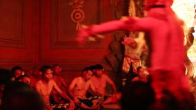 Dancers performing traditional balinese Kecak Trance Fire Dance. stock footage