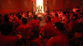 Dancers performing traditional balinese Kecak Trance Fire Dance. stock video