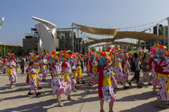 Dancers in pink and white dresses on the Japanese traditional parade on EXPO 2015 Royalty Free Stock Photos