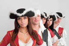 Dancers in pirate costumes Stock Photos