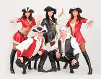Dancers in pirate costumes Royalty Free Stock Photos