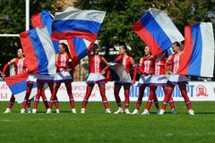 Dancers on the pitch during Rugby 7 Grand Prix Series in Moscow Stock Photography
