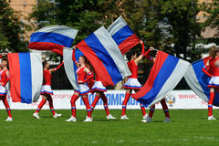 Dancers on the pitch during Rugby 7 Grand Prix Series in Moscow Royalty Free Stock Photos