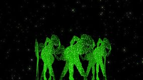 Dancers. Pixel-shimmery outlines. Animation of a green translucent rotating hexagon with dancing performers in hats.