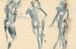 Dancers poses, drawing. Hand drawing picture with three figures, ballet dancers Stock Photography