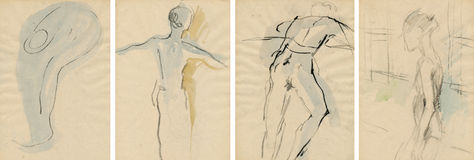 Dancers poses, drawing. Hand drawing picture with four figures, ballet dancers Stock Images