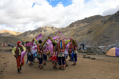 Dancers at Quyllurit'i inca festival in the peruvian andes near ausangate mountain. Royalty Free Stock Image