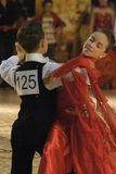 Dancers: Raul Faliborga/ Loredana Butea. Raul Faliborga/ Loredana Butea, ballroom dancers, 2nd place at the Romanian National Contest (Cupa Romaniei), standard Stock Photography