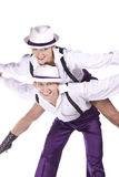 Dancers rock and roll. Studio photography on a white background, dancers dressed as rock and roll Stock Photo