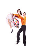 Dancers rock and roll. Studio photography on a white background, dancers dressed as rock and roll Stock Photos