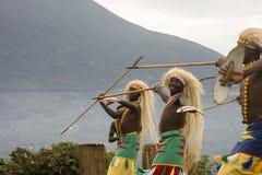 Dancers in Rwanda native dance troop, Virunga, Africa. Virunga, Rwanda - March 1, 2017 : Dancers in Rwanda native dance troop, Virunga, Africa Royalty Free Stock Photo
