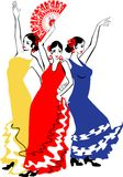 Dancers Sevillanas. In colorful dresses Royalty Free Stock Images