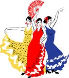 Dancers Sevillanas. In colorful dresses Royalty Free Stock Photo
