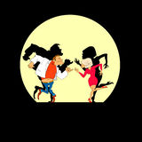 Dancers. Silhouette of dancing people, vector illustration Royalty Free Stock Photography