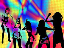 Dancers silhouettes. Illustration on colorful background Stock Image