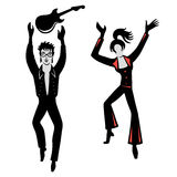 Dancers, singers man, woman set Royalty Free Stock Photos