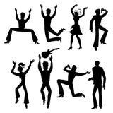 Dancers, singers man, woman set Stock Photos